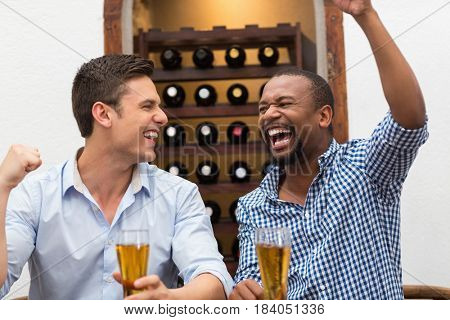 Friends cheering while watching football match in the restaurant