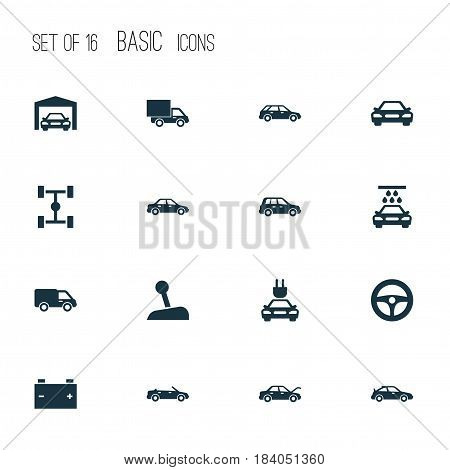 Automobile Icons Set. Collection Of Transport Cleaning, Drive Control, Automobile And Other Elements. Also Includes Symbols Such As Wheelbase, Chassis, Gear.