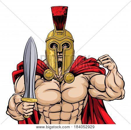 An illustration of a tough mean looking gladiator, ancient Greek, Trojan or Roman warrior or gladiator wearing a helmet and holding a sword