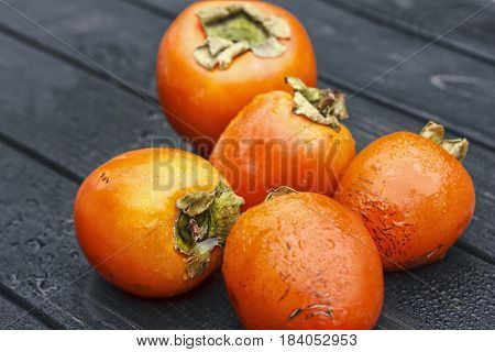 Persimmon, Fresh Ripe Persimmon On Wooden Table Fruits On Rustic Table