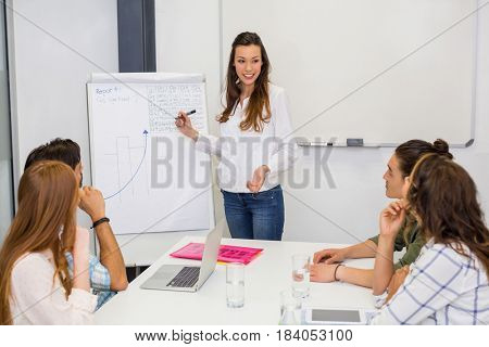 Team of executives having discussion over flip chart in office
