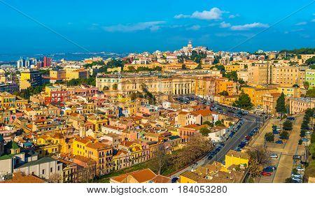 Cagliari, Sardinia - January 2016, Italy: Cityscape of historic city center in Cagliari, the biggest city on Sardinia Island