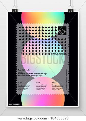 Poster design. Banner template. Business concept. Vertical graphic poster. Promotion cover. Vector flyer mock up. Presentation design for business art or entertainment event.