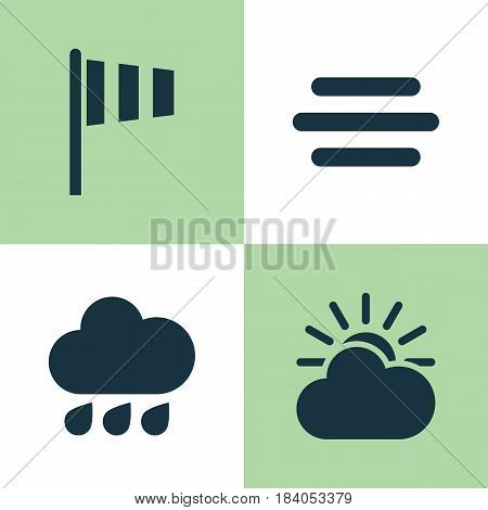 Weather Icons Set. Collection Of Sun-Cloud, Flag, Rainy And Other Elements. Also Includes Symbols Such As Vane, Sun, Drop.
