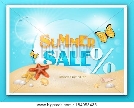 Illustration of summer sale card with starfish on sandy beach