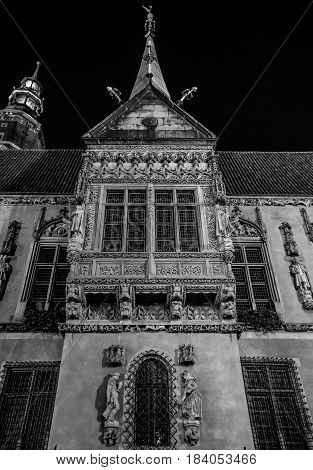 Wroclaw Poland 21st october 2016. Facade of the old town hall in Wroclaw Poland in black and white at night.