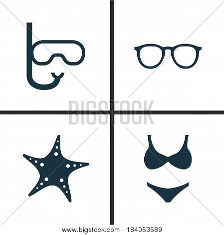 Hot Icons Set. Collection Of Star, Goggles, Bikini And Other Elements. Also Includes Symbols Such As Tube, Bikini, Goggles.