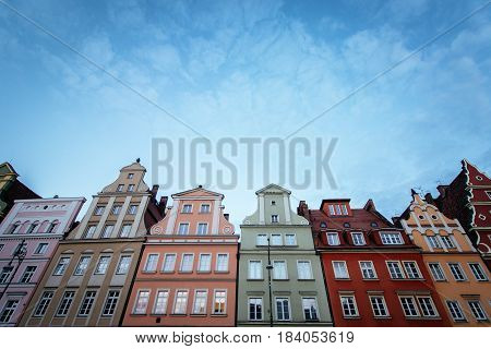 Wroclaw Poland 22nd october 2016. Colorful houses in the historic market square of Wroclaw with clear blue sky in the background