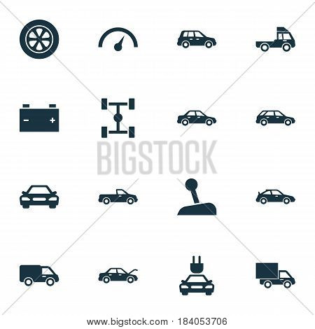 Automobile Icons Set. Collection Of Car, Lorry, Crossover And Other Elements. Also Includes Symbols Such As Truck, Fixing, Carriage.