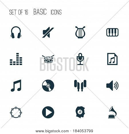 Multimedia Icons Set. Collection Of Earphone, Cd, Earmuff And Other Elements. Also Includes Symbols Such As Tambourine, Music, Lover.