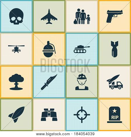 Warfare Icons Set. Collection Of Military, Rocket, Aircraft And Other Elements. Also Includes Symbols Such As Scalper, Target, Grenade.