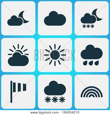 Meteorology Icons Set. Collection Of Colors, Rainy, Sun And Other Elements. Also Includes Symbols Such As Rainbow, Cloudy, Snowy.