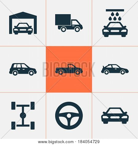 Automobile Icons Set. Collection Of Carriage, Car, Lorry And Other Elements. Also Includes Symbols Such As Automobile, Lorry, Wheelbase.