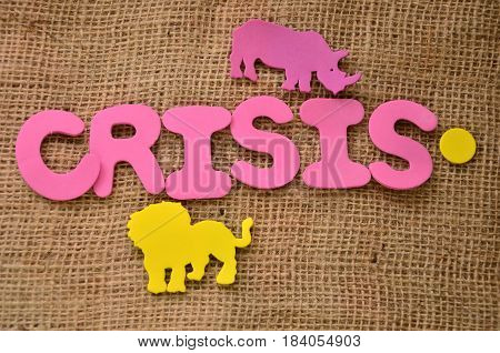 word crisis on a  abstract colorful background