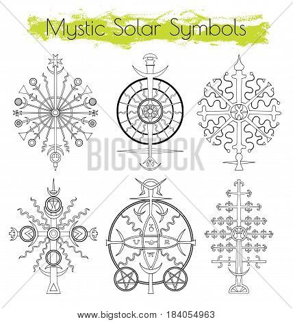 Hand drawn collection with mystic solar symbols.  Hand drawn black and white illustrations, vector doodle drawings