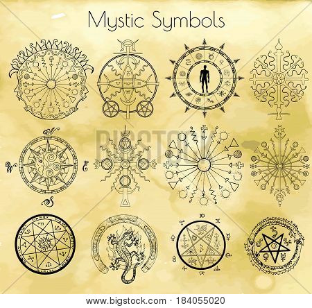 Big set with mystic and occult symbols on textured background. Hand drawn illustrations, vector doodle drawings