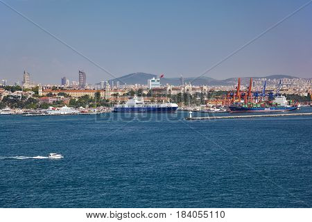 ISTANBUL TURKEY - JULY 12 2014: The view of the Asian shore of the Bosphorus from the Topkapi Palace. Istanbul Turkey