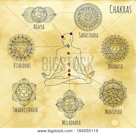 Mystic chart with hand drawn chakras of human body on textured background. Hand drawn graphic illustrations, vector doodle drawings