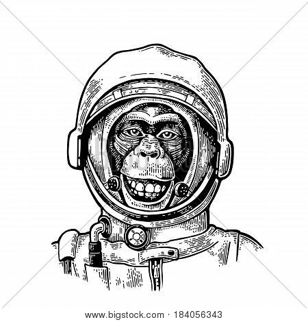 Monkey in astronaut helmet smiles. Vintage black engraving illustration for poster, web. Isolated on white background.