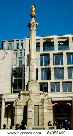 London UK - February 24 2016: Monument to the Great Fire of London in Paternoster Square City of London England United Kingdom Europe