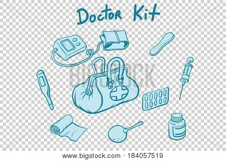 doctor kit medical instruments and medicines. Comic book cartoon pop art retro style vector illustration