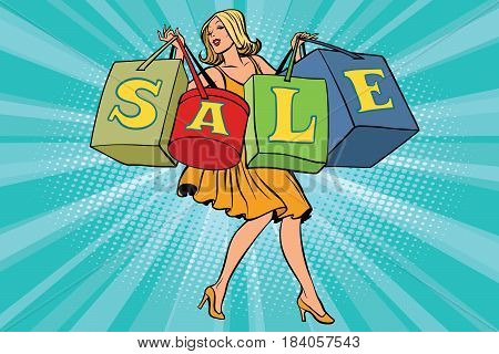 Blond woman with shopping bags sale. Comic book cartoon pop art retro style vector illustration