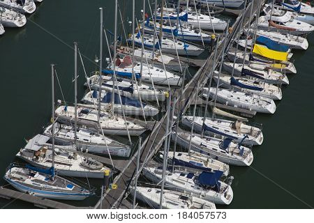 Lisbon, Portugal - september 30, 2016; Aerial view of the marina bay of Belem in Lisbon, Portugal