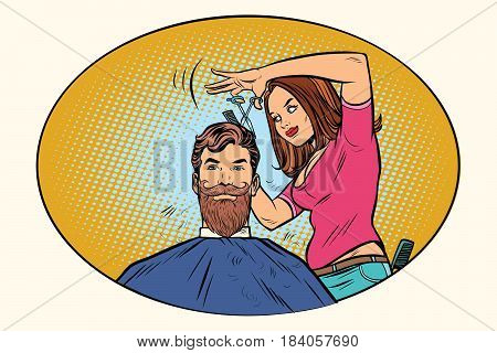 Woman hairdresser cuts the bearded hipster. Comic book cartoon pop art retro style vector illustration. Image circle