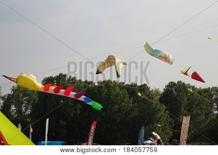Ferrara, Italy - 23 april 2017 - XXXVIII edition of the Festival that recalls hundreds of kite players from all over the world.