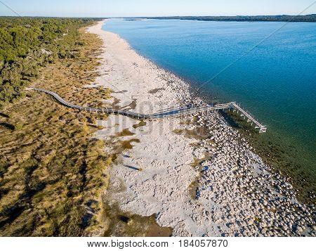 Aerial of the jetty at the Thrombolites, Lake Clifton near Mandurah, Western Australia, Australia.