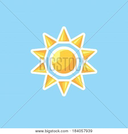 Vector icon in style linework sun on blue sky background. Illustration of linework style sun in clear sky
