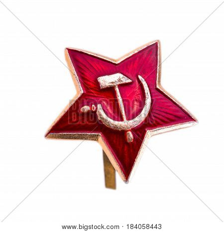 Star Red Army the Soviet star star kakarda Soviet troops isolated on a white background.