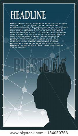 Head with factory for brain. Heavy industry and atom energy. Brochure, report or cover design. Molecule And Communication gradient Backdrop. Connected lines and dots