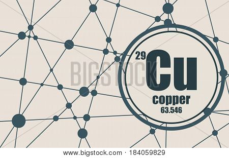Copper chemical element. Sign with atomic number and atomic weight. Chemical element of periodic table. Molecule And Communication Background. Connected lines with dots.