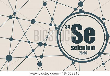 Selenium chemical element. Sign with atomic number and atomic weight. Chemical element of periodic table. Molecule And Communication Background. Connected lines with dots.