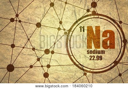 Sodium chemical element. Sign with atomic number and atomic weight. Chemical element of periodic table. Molecule And Communication Background. Connected lines with dots. Grunge texture