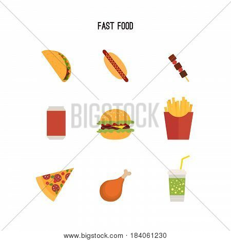Set of fast food products. Can be used for menus or advertising leaflets, etc. Tacos, hot dogs, pizza, burger, french fries, barbecue, chicken leg, drink. Flat style drawing.