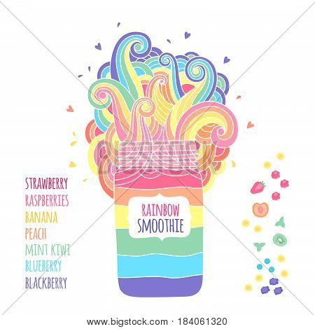 Mason jar with label for text. Bright rainbow smoothies of different fruits and berries. Fantasy illustration with colored waves.