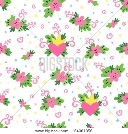 Cute spring pattern with flowers leaves swirls hearts and a crown on a white background