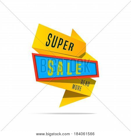Super Big Sale shining banner on colorful background. Sale background. Geometric design label. Super sale tag and special offer. Graphic illustration advertising coupon for sale sign.