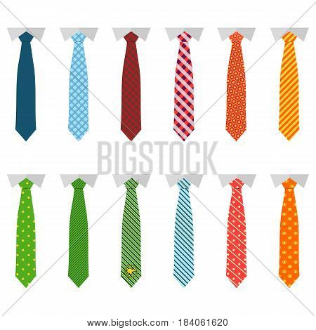 Set different ties isolated on white background. Colored tie for men. Graphic illustration