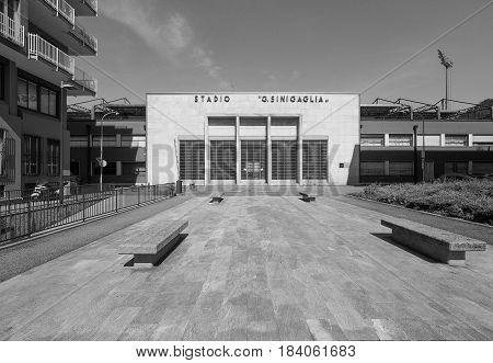 Stadio Sinigaglia Stadium In Como In Black And White