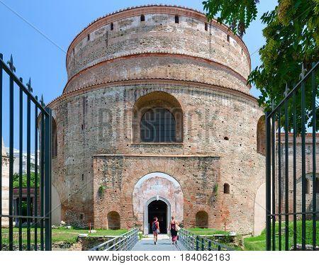 THESSALONIKI GREECE - AUGUST 13 2014: Unknown people visit Tomb of Roman Emperor Galerius (St. George's Rotunda) Thessaloniki Greece