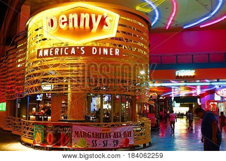 Las Vegas, NV - October 10: Denny's Restaurant on October 10, 2016 in Las Vegas NV,USA. One of the most successful 24 hour restaurants in USA,