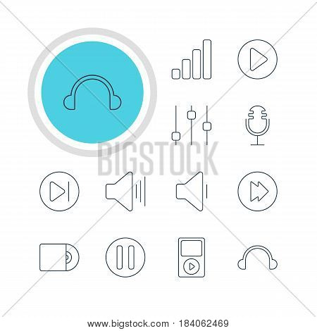 Vector Illustration Of 12 Music Icons. Editable Pack Of Earphone, Mike, Decrease Sound And Other Elements.