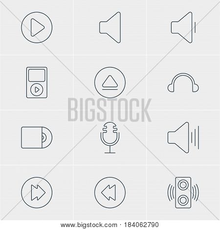 Vector Illustration Of 12 Melody Icons. Editable Pack Of Volume Up, Earphone, Advanced And Other Elements.