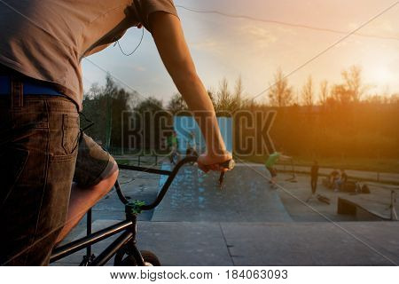 Bmx, Bicyclist  Rider Silhouette In An Extreme Park