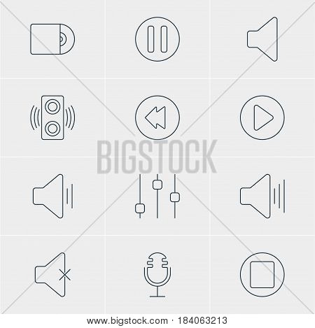 Vector Illustration Of 12 Melody Icons. Editable Pack Of Amplifier, Pause, Audio And Other Elements.