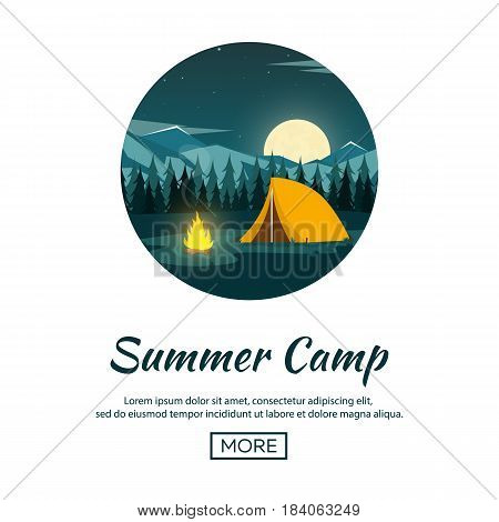 Summer Camp. Night Camping. Campfire. Pine Forest And Rocky Mountains. Starry Night And Moonlight.