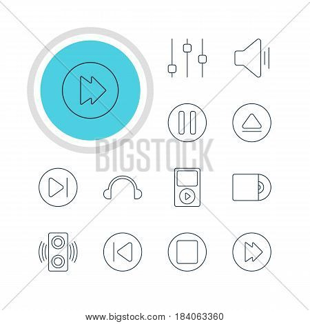 Vector Illustration Of 12 Melody Icons. Editable Pack Of Amplifier, Compact Disk, Preceding And Other Elements.